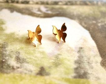 Vintage Brass Kim Craftsmen Butterfly Studs // Vintage Kim Copper Studs // Kim Butterfly Earrings // New Old Stock // NOS // Mid Century
