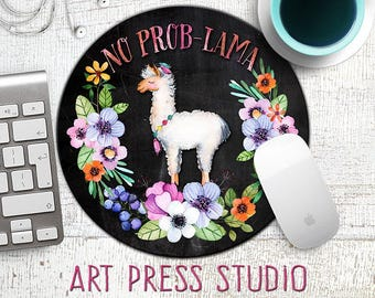 No Prob-Lama Mousepad, Llama Mouse Pad, Chalk Llama Mousepad, Funny Mousepad, Gift for Co-Worker, Funny Gifts,  Mouse Mat, Alpaca, Lama