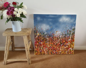 Original acrylic painting. 'Are We Dancing' Contemporary Art. 30 x 30 inches. Deep edged canvas.