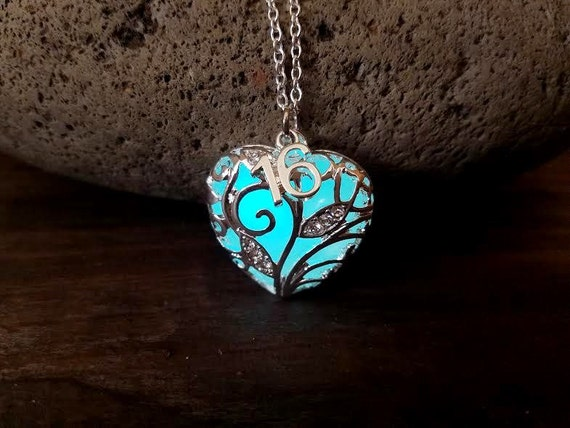 Birthday Necklace, 16th, 18th, 21st, 30th, 40th, 50th, 60th Gift, Anniversary Gift, Glow in the Dark Heart, Sweet 16, Year 2018 Necklace