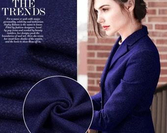 Elegant Sapphire Wool Fabric By The Yard Woolen Woven Cloth Women Dress fabric Clothing Fabric Jacket Fabric Coat Fabric Skirt Fabric-HUPAN