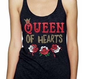 Queen of Hearts Glitter Shirt - Alice in Wonderland Shirt - Valentine Shirt