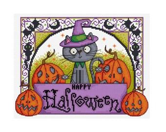 Halloween Cat - Durene J Cross Stitch Pattern