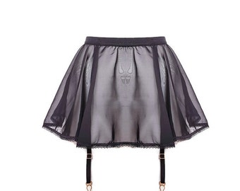 Black Chiffon & Lace Skirt Suspender Belt 'Molly' by Thrill Factory