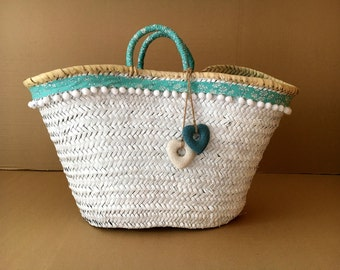 Carrycot decorated with fabric Liberty / decorated basket / Strawbag / Beach basket / bag summer