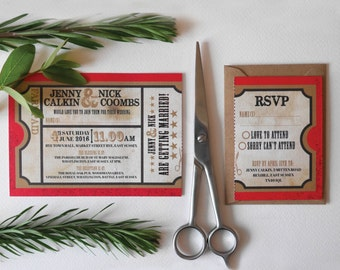Bus Ticket Wedding Stationery Set