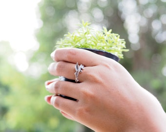 Branch Ring, Twig Ring, Nature Ring, Size: US 5-7 | 925 Sterling Silver, Gift for her - JC/TR043