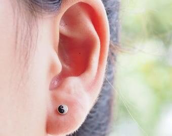 4 mm Yin Yang Stud Earrings, 925 Sterling Silver, Yin Yang Jewelry, Tiny Stud, Zen jewelry, Gift Idea - SB239