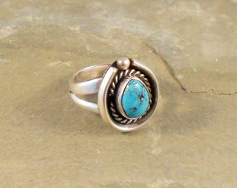 Navajo Handmade Ring Sterling Silver Turquoise Size 5.5 Native American Handmade Ring Southwestern Jewelry Gift For Her