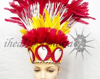 Tahitian costume feather hau and niau head piece