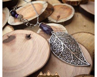 Amethyst Nugget Leaf Necklace