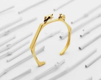 Chasing Rabbits Cuff Bracelet (Brass, Bronze 3d Printed Jewelry)