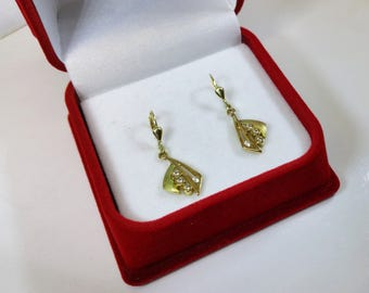 Earrings gold 333 matt/shiny Crystal stones vintage OR108