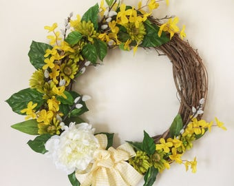 Yellow Forsythia Wreath - Spring Wreath, Easter Wreath