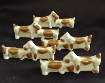 French Art Deco Camille Tharaud Porcelain Set of Five 5 Knife Rests - Limoges Dogs Jack Russel Knife Rests