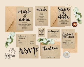 Rustic wedding invites, Kraft paper wedding invitation set printable wedding invitation set, Rustic wedding set, Wedding suite, Wedding set