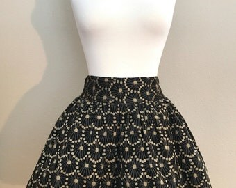 Vintage French Connection Metallic Lace Full Skirt- Medium