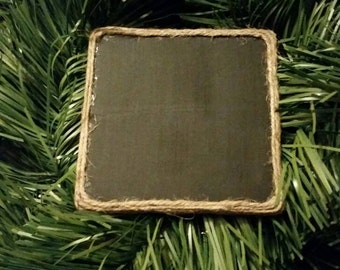 Chalkboard Coasters; Set of Four Chalkboard Coasters Wrapped in Jute; Chalkboard Painted Coasters; Jute Wrapped Coasters