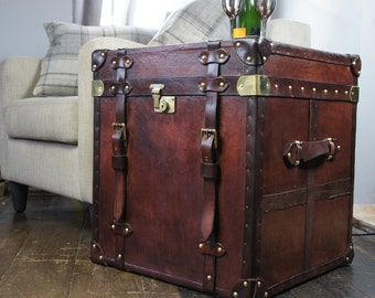 Antique Inspired Large leather Belted Cube Trunk
