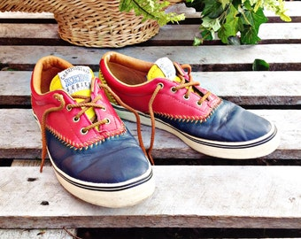 RaRe..90's KEDS,LEATHER CHAPIONSHIP Series,red,blue,yellow lace tennis shoes