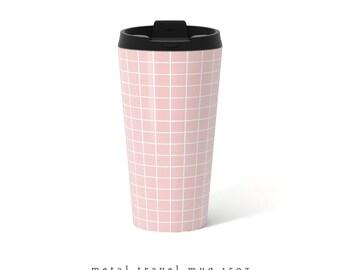 Rose quartz Grid Travel Mug Pink Metal travel mug pink Travel Mug rose quartz mug Stainless Steel Mug Gift for her present for her grid mug
