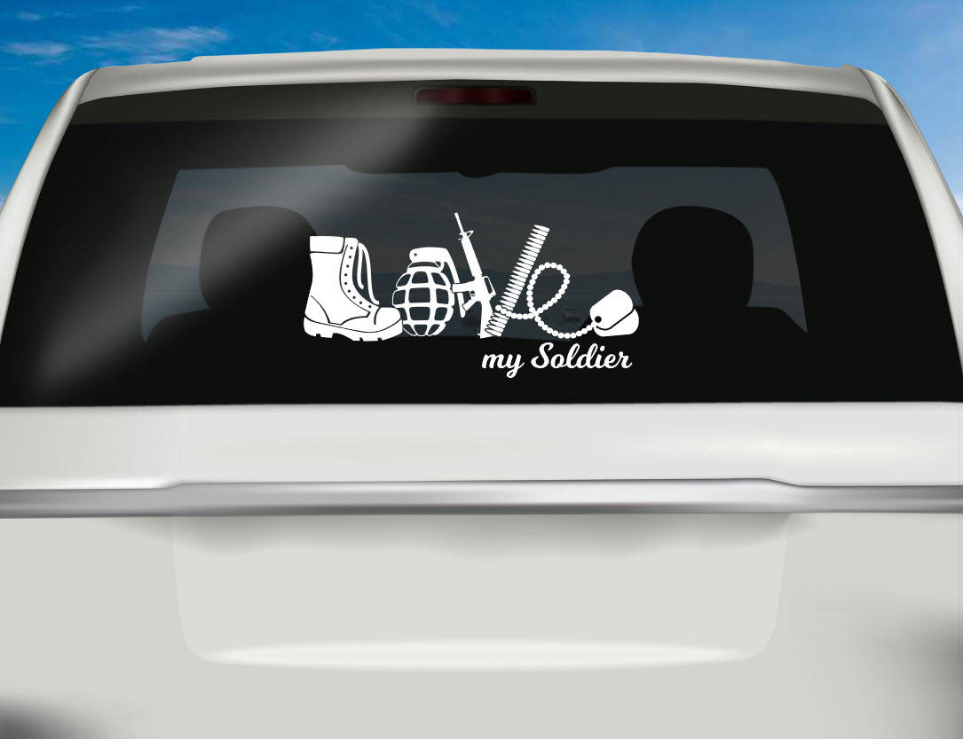 Love My Soldier Decal Vinyl Car Decal Yeti Cup Decal - Unique car window decals