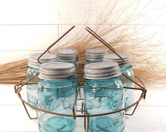 Vintage Round Wire Mason Jar Rack with Blue Mason Jars, Farmhouse Chic, Farmhouse