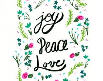 Joy Peace Love Floral Print