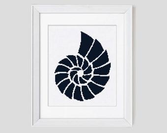 Modern cross stitch pattern, ammonite counted cross stitch pattern, ammonite cross stitch pdf pattern