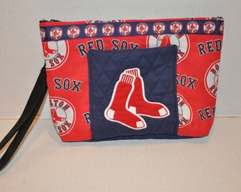 New!  Boston Red Sox Quilted Purse - Embroidered - Boston Sports - Red Sox Wristlet - Purse