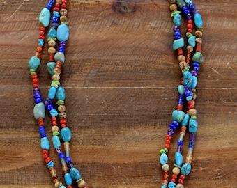 Vintage Southwestern Multi-Stone 3-Strand Bead Necklace