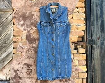 ON SALE •••• Vintage EXPRESS Button Down Denim Dress | small | medium
