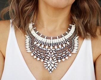 Silver Statement Necklace, Statement Necklace, Statement Jewelry, Bold Necklace, Chunky Necklace, Edgy, Silver Jewelry, Silver Necklace