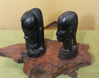 Ivory Coast Carved African Female and Male Heads