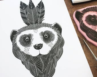 Wolverine - handmade original, hand printed
