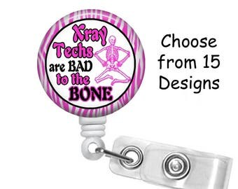 Xray Tech Badge Reel, Medical Badge Reel, ID Badge Holder, Graduation Gift, Retractable Belt or Alligator clip, Skeleton Badge Reel