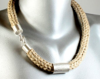 Hemp necklace with silver tube, hand knitted, hand forged, hammered, silver seal, unique, hemp jewelry, hemp necklace, awschmuckart, Sterling,
