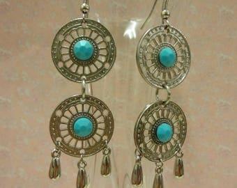 Chandelier Earrings, Turquoise Dangle Earrings, Silver Turquoise Drop Earrings, Waterfall Earrings, Statement Earrings