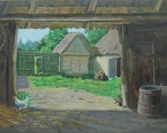 Mid Century VINTAGE ORIGINAL LANDSCAPE Original Oil Painting 1950s, Soviet Ukrainian Art, Nature painting, Rural landscape, High Quality