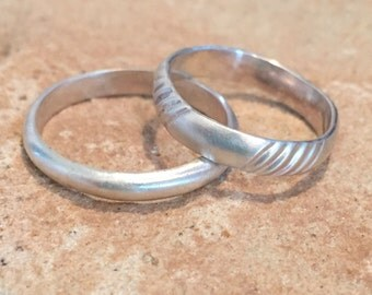 Stackable sterling silver rings, sterling silver bands, half-round and patterned sterling silver rings, sterling silver rings, wedding bands