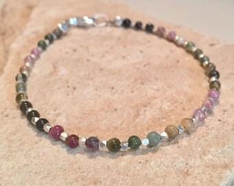 Multicolored bracelet, tourmaline bracelet, gemstone bracelet, sundance style bracelet, Hill Tribe silver bracelet, colorful bracelet
