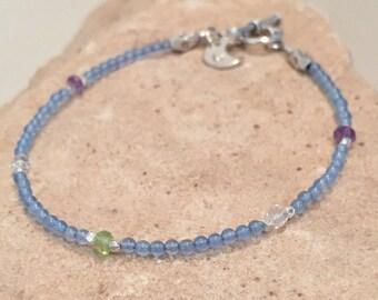 Blue bracelet, dainty bracelet, agate bracelet, gemstone bracelet, Hill Tribe silver bracelet, sundance style bracelet, charm bracelet