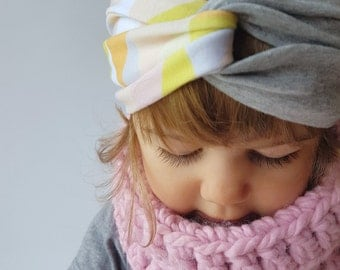 Baby/Toddler/Adult Turban Style Headband, Sophie print and Grey