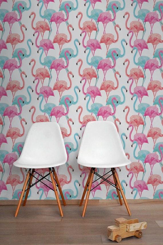 Colorful Flamingo Removable Wallpaper Watercolor Flamingo