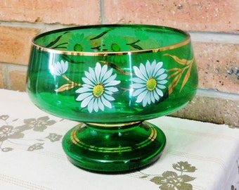Bohemia emerald green hand painted footed glass fruit or serving bowl, 1950s, 24k gilt trim, wedding engagement gift