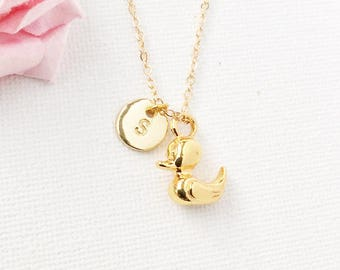 Gold duckling Initial and birthstone necklace, duck necklace, birthstone necklace, initial necklace, duck necklace, gold duck, duck