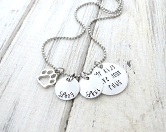 Personalized Paw Necklace - Mom to Dogs - Mom to Cats - Dog Name - Cat - My Kids have four Paws - Personalized Necklace-Personalized Jewelry