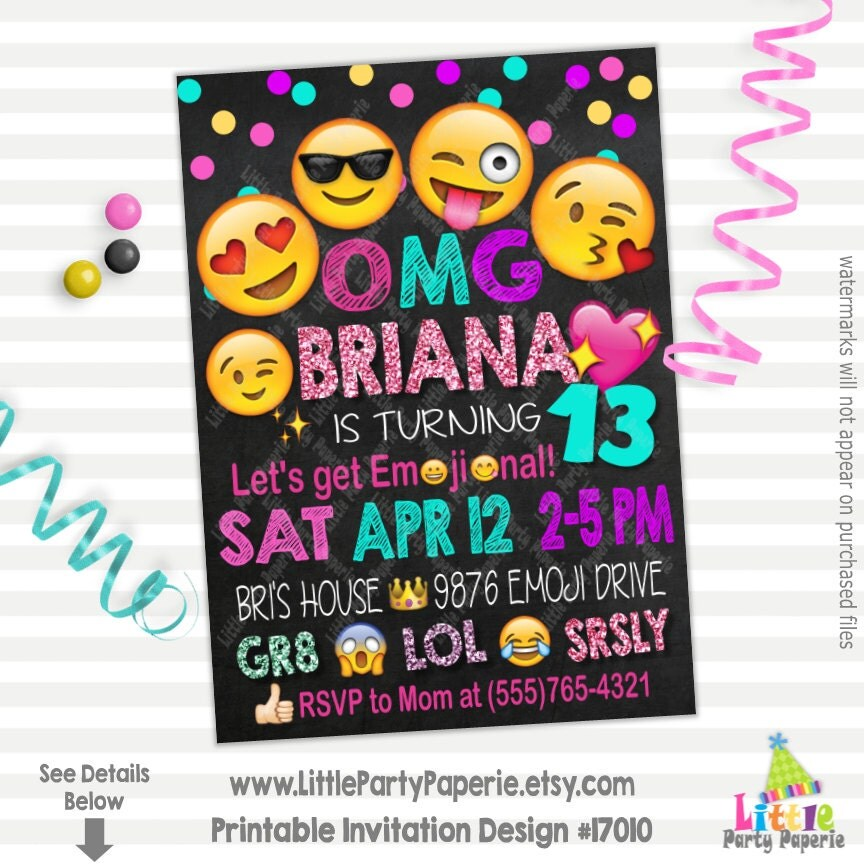Emoji Birthday Invitation Emoji Party Invitation Let's