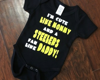 Steelers Baby Onesie - Cute like Mommy, Steelers Fan like Daddy
