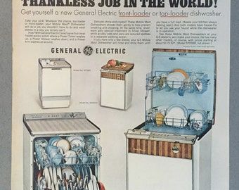1967 General Electric Print Ad for Mobile Maid Dishwashers - Kitchen Appliances